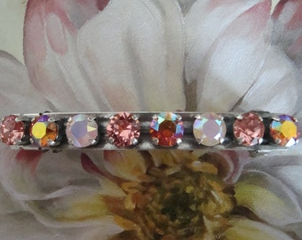 "Swarovski  Elements ""Peach Melba"" Crystal Barrette, Hair clip, Hair Jewelry Accessory"