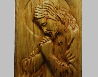 Religious Wood Carving Handmade The Jesus Praying Wall Hanging Decor Relief Waxed
