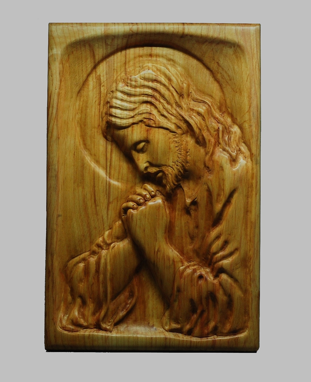 Religious wood carving handmade the jesus praying wall hanging