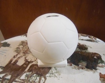 Ceramic bisque ready to paint Soccer Ball Bank