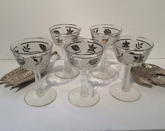 Vintage silver leaf glass cordials - Set of 5