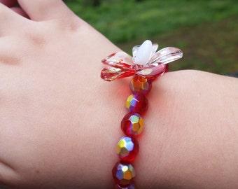 Sweet Red Little Girls Stretch Bracelet