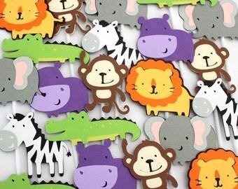 24 x Zoo Cupcake Toppers - Jungle, Safari, Crocodile, Zebra, Lion, Elephant, Monkey, Hippo