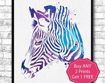 Zebra Watercolor Print Animal Wall Decor Children Boy Girl Kids Baby Room Nursery Art Decor Bedroom Children's Art Blue Purple Zebra Poster