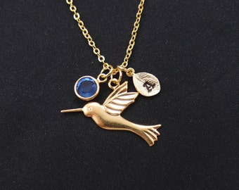 hummingbird necklace, initial necklace, birthstone necklace, long necklace option, gold bird charm , flying bird necklace, christmas gift