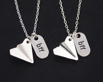 SALE set of two necklaces, one direction, Harry styles, friendship jewelry, paper airplane necklace, best friends forever jewelry, bff gift