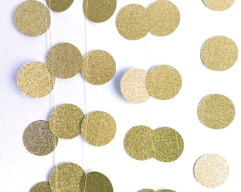 20' Gold glitter garland, gold Glitter wedding banner, Shiny gold paper garland, circle garland, baby shower garland, gold Wedding decor