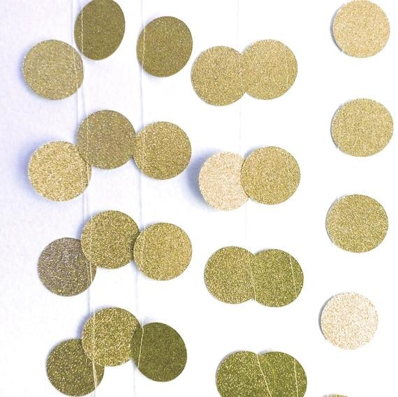 10 39 gold glitter polka dot circle garland paper circles for Gold dot garland