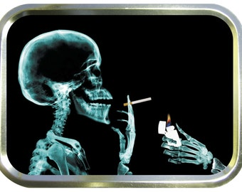 Smoking skull design 2oz gold tobacco tin,pill box,storage tin