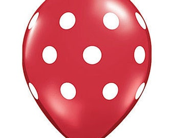 Red Polka Dot Balloons | Red Balloons | Red Party Balloons | Polka Dot Balloons | Party Balloons | Dot Balloons | 12 Inch Balloons