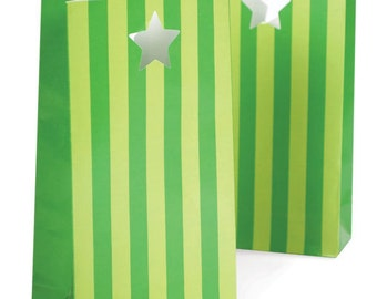 Party Bags | Paper Bags | Green Stripe Treat Bags | Green Stripe Party Bags | 12 Per Pack