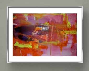 FANTASY IN PINK Abstract modern art print; home decor; wall art, expressionist design; original mixed media.