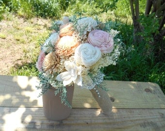 Sola bouquet, wedding bouquet, bridal bouquet, sola flower bouquet, keepsake flowers, rustic wedding, peach tan sola, wedding flowers