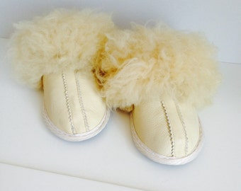 Women slippers, leather slippers, silky fur