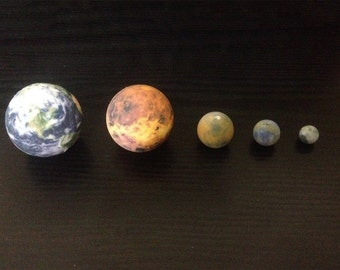 Earth, Venus, Mars, Mercury & the Moon globes to scale