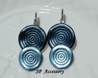 Vintage Metallic Gray Blue Circle Earrings, Stainless Steel Earrings, jewelry earrings, vintage earrings