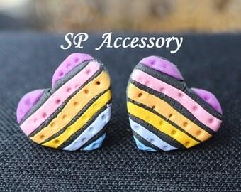 Heart earrings, Square Bohemian Earrings, earrings clay, jewelry earrings, clay jewelry