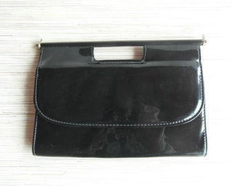 Patent Leather Bag Black patent Clutch 80's Shoulder Bag Black Patent Bag