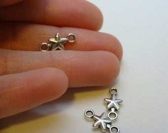 3 silver plated stars connectors settings charms pendants DIY bracelets and necklaces jewellery making charms