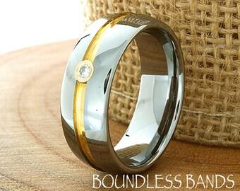Diamond Wedding Band Ring 8mm 18K Two Tone Man Wedding Band Male Women Custom Laser Engraving Anniversary Handmade Tungsten Carbide Ring New