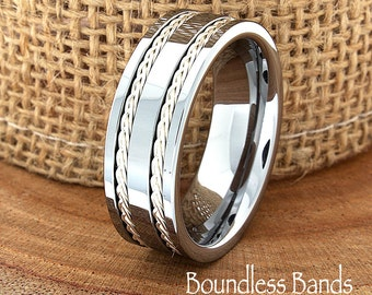 Tungsten Ring Double Braided Any Design Wedding Band Customized High Polished Laser Engraved Ring Mens New Modern Classic Band Mens Ring 8mm