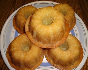 Super Moist Homemade Lemon Honey Mini Single Serving Bundt Cakes (1 Dozen)