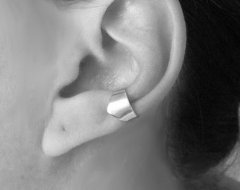 Silver Ear Cuff, Chunky Ear Cuff, No Pierce Ear Cuff, Sterling Silver Earcuff, Chevron
