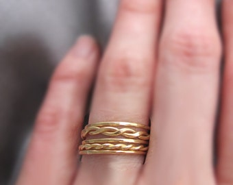 Brass Stacking Rings, Gold Stacking Rings, Stacking Rings Set, Stackable Rings