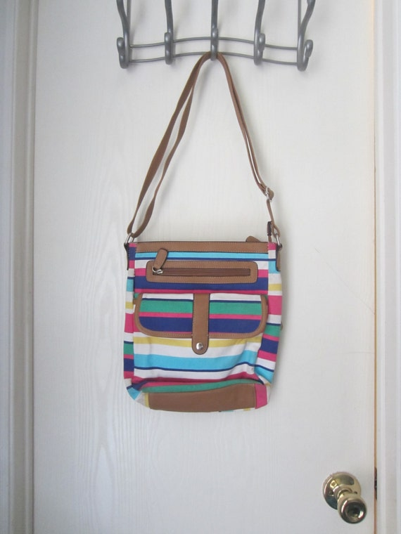 Multi-Colored Striped Crossbody Bag