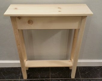 """24"""" Narrow Unfinished Pine Console, Sofa, Wall Table With Shelf- 24"""" long x 7.5"""" deep x 30"""" tall"""