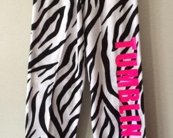 Girls pajama pants,  pajama Bottoms, personalized pajamas, flannel pajama pants, Gymnastics Pajama's, Tumbling Pajama's