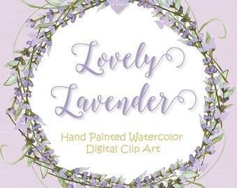 Watercolor Lavender flowers clipart, Watercolor flower, Purple, Watercolor Clipart,  Wedding Clip Art, wedding invitation