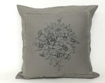 Linen-Bouquet Square Cushion