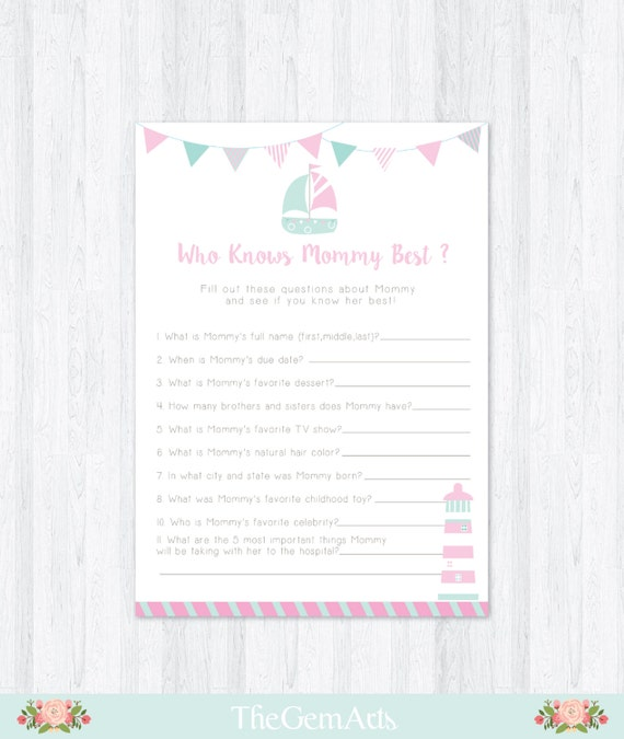 pink nautical baby shower game diy printable baby shower game who