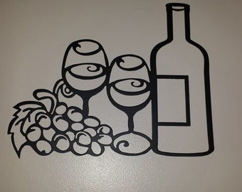 Wine with Glasses and Grapes Metal Wall Art