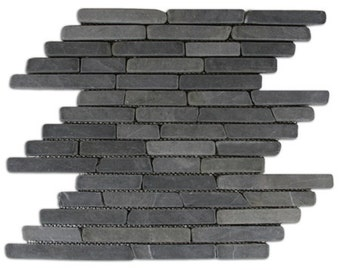 Hand Made Stone Tile - Grey Pencil Stone Tile 1 sq. ft. - Use for Mosaics, Showers, Flooring, Backsplashes and More!