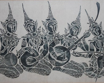 Large Vintage Thai/Cambodian Angkor Wat Temple Stone Rubbing Art on Rice Paper