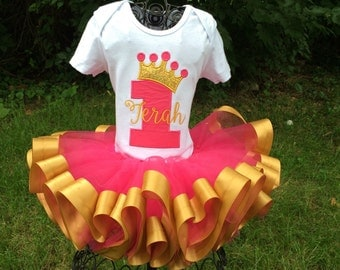 Princess Birthday tutu outfit - pink and gold - first birthday, second, third, fourth, fifth, sixth birthday