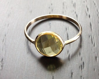 14k solid yellow gold and lemon quartz cabochon gemstone ring