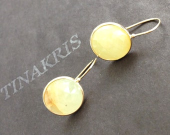 14k solid yellow gold and yellow rose cut natural sapphire earrings