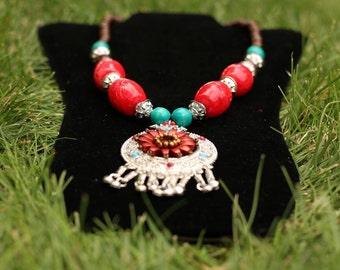 Reddish Pinkish Indian Necklace