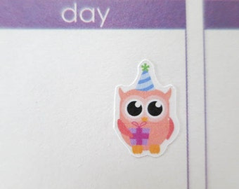 60 Party Owl Stickers | Planner Stickers designed for use with the Erin Condren Life Planner | 0314