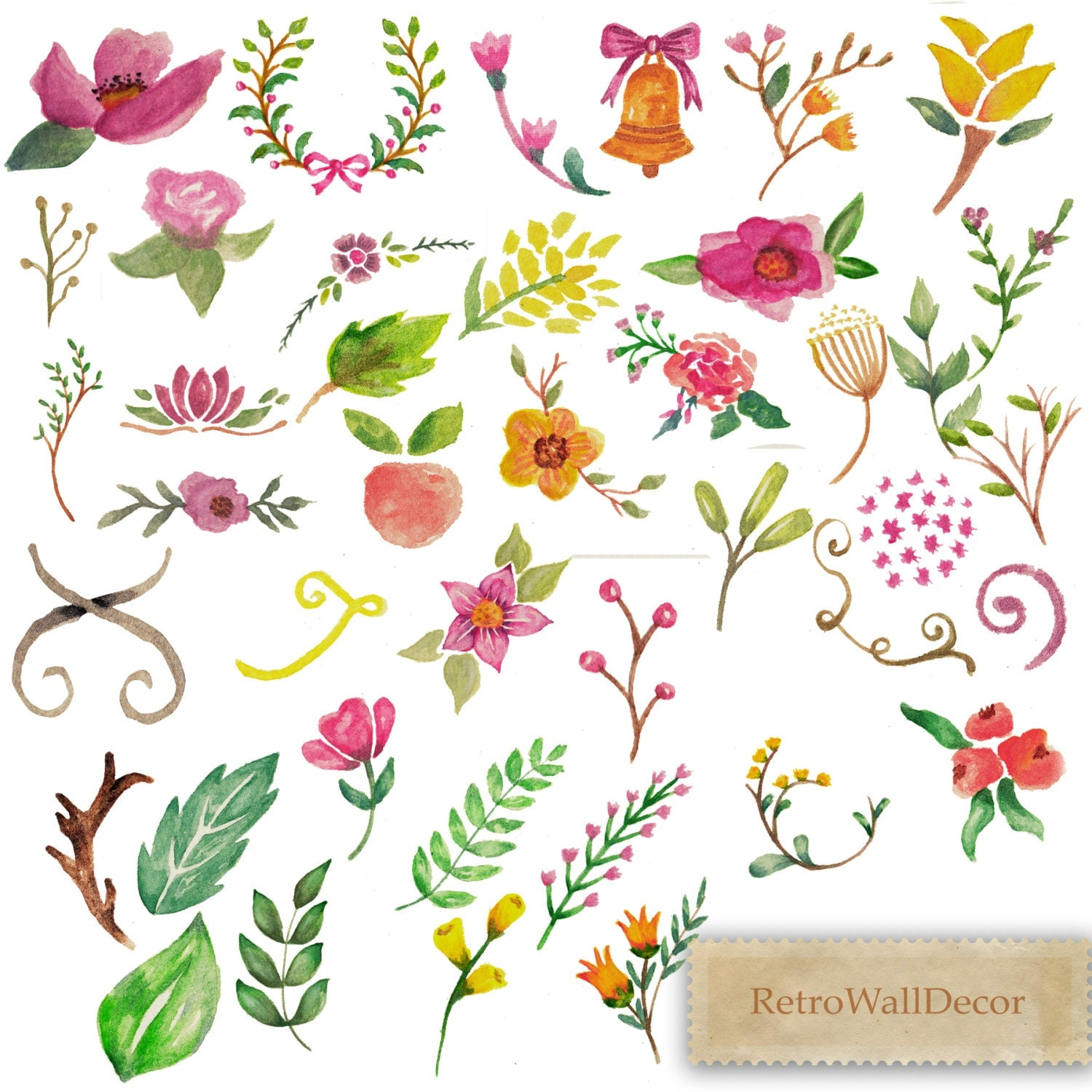 Watercolor Flowers Clip Art Hand Painted Flowers By