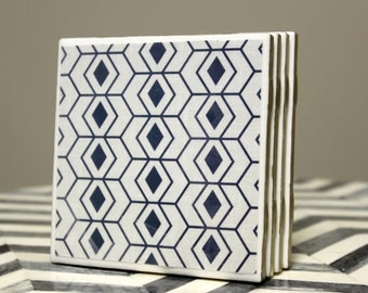 149 - Mid Century Modern Blue Diamonds White Background Drink Coasters - Hand Painted Metallic Gold Edges Table Coasters - Full Cork Backing