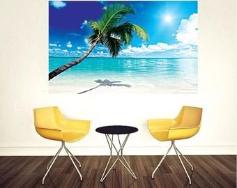 Beach Wall Decal Palm Tree Wall Murals Beach Bedroom Wall Mural White Sand Beach  Wall Design Part 88