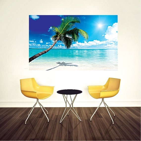 Palm Tree Beach Wall Decal by PrimeDecal