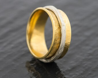 Hand Panned British Gold and Silver and 18ct EcoGold and EcoSilver Spinner Wedding Ring