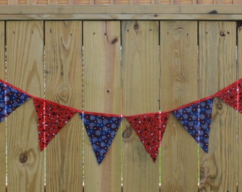 Memorial Day Banner- 4th of July Banner-Backdrop-Photo Shoot-Fabric Banner-Red and Blue Banner-Pennant Banner