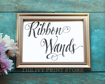RIBBON WANDS Sign Send Off, Wedding Send-Off for Bride and Groom, Wedding Exit, Guest Favors, Wedding Decor, Reception Table Signs - PS017