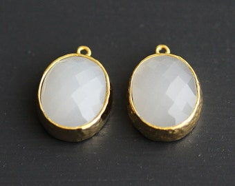 A2-008-G-WS] White Smoke / 12 x 13.5mm / Gold plated / Oval Glass Pendant /  2 pieces